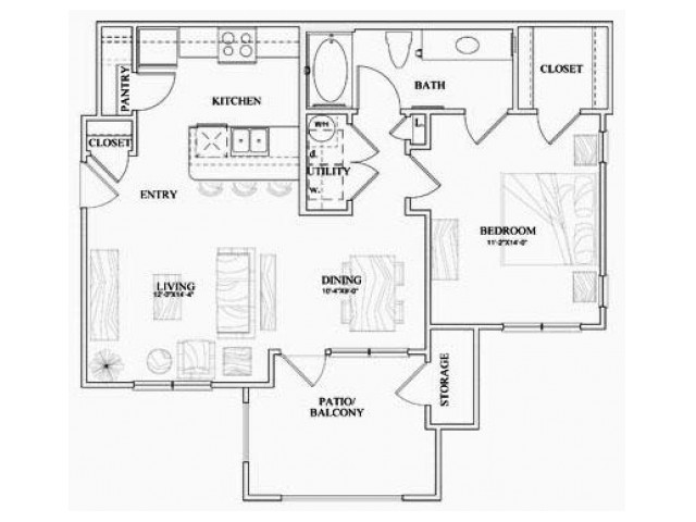 A2 one bed, one bath with dining room, eat in kitchen and patio/balcony