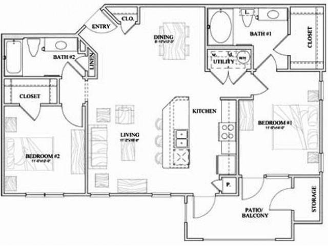 B1 two bed, two bath with dining room, kitchen island and patio/balcony