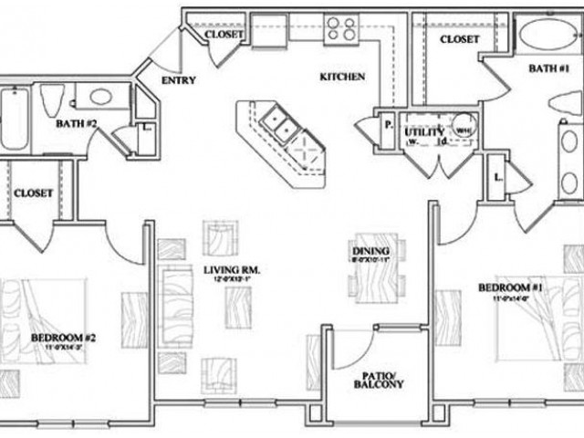 B2 two bed, two bath with dining room, kitchen island and patio/balcony