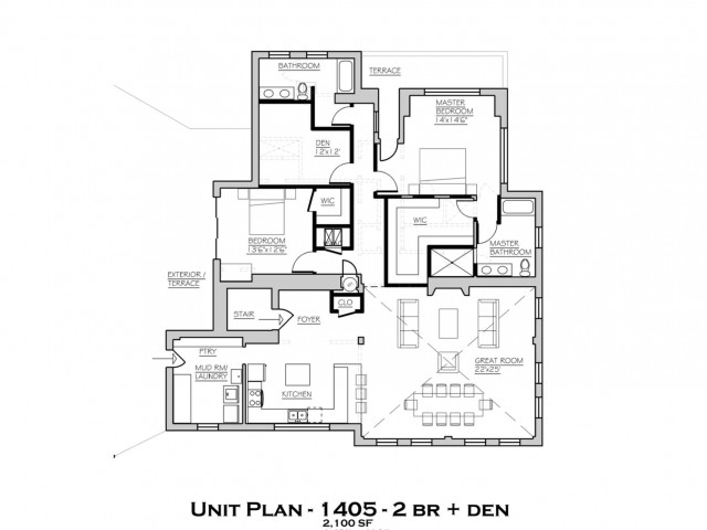 Deluxe 2 Bedroom/Den 1406 SF Penthouse