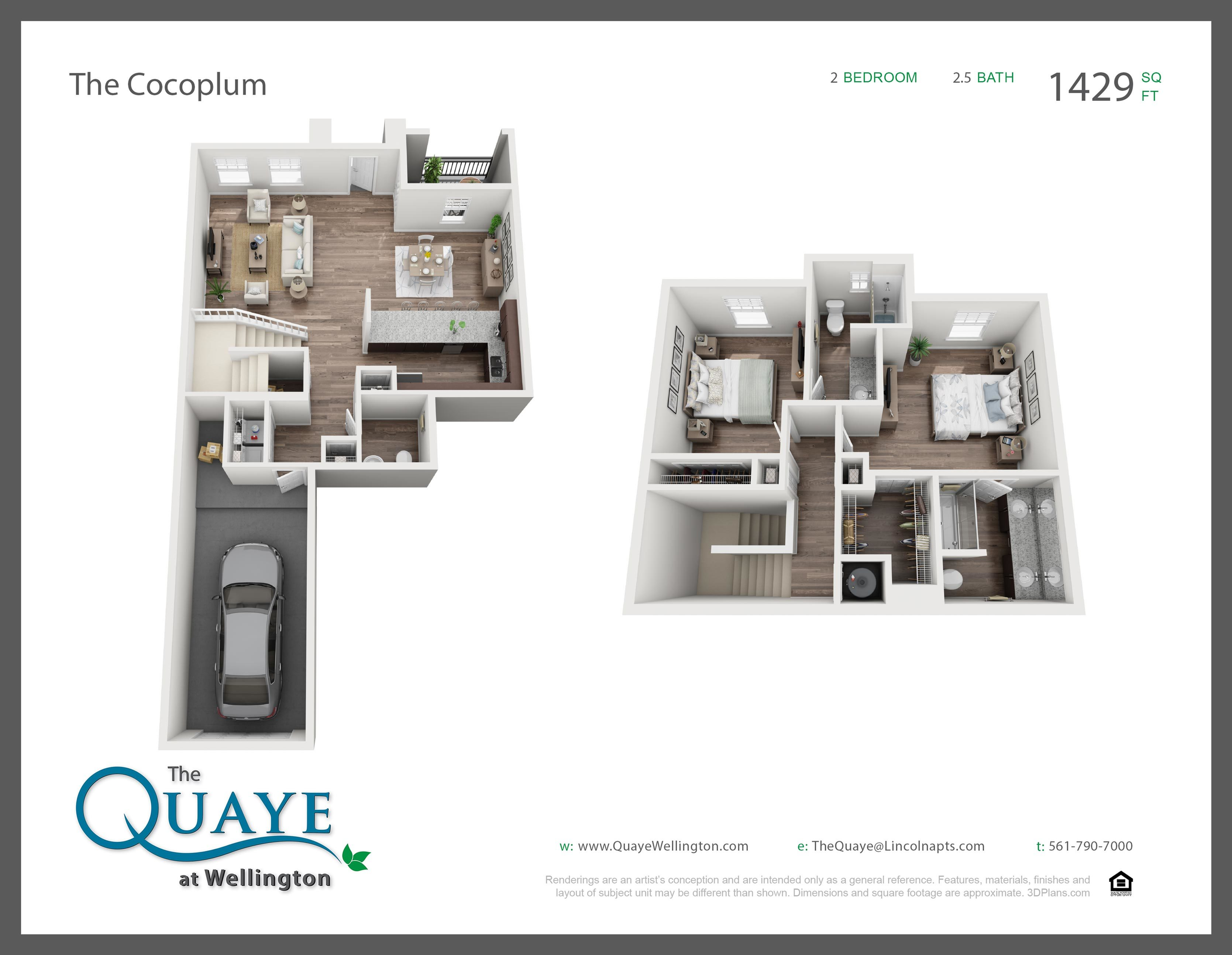 Cocoplum two bedroom two and a half bathroom town home with single car garage 3D floor plan, 1,429 sq. ft.