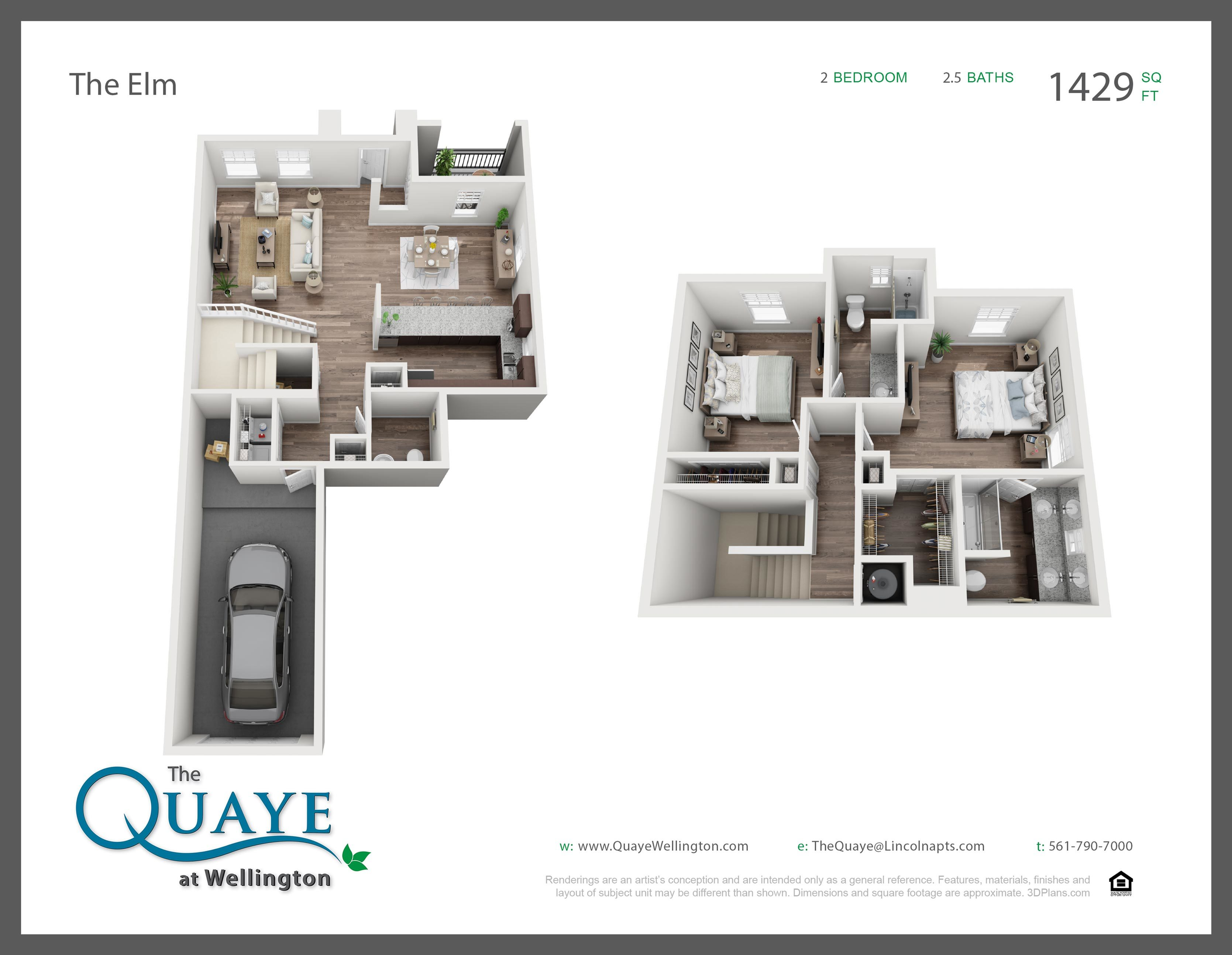 Elm two bedroom two and a half bathroom town home with single car garage 3D floor plan, 1,429 sq. ft.