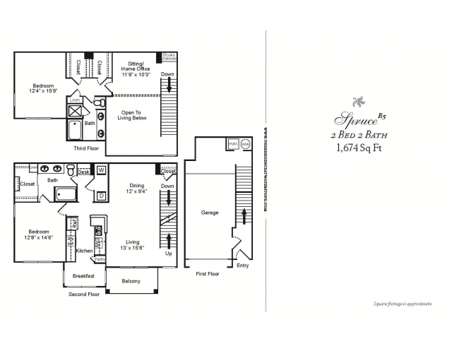 B5 CLASSIC-2 BEDROOM LOFT TOWN-HOME STYLE 2 BATHROOM