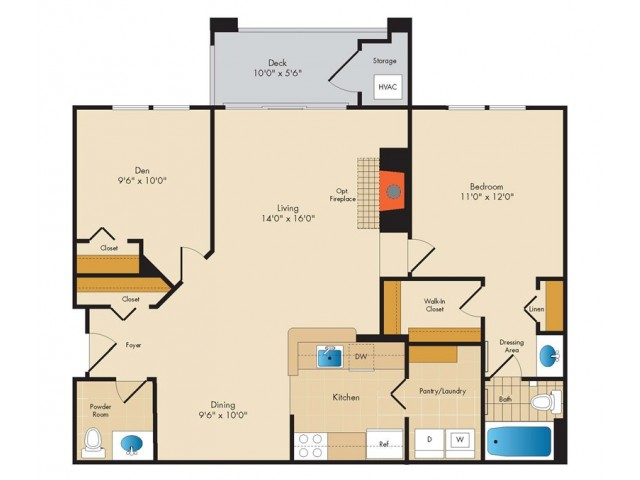 A3- ONE BEDROOM ONE AND A HALF BATH PLUS DEN- 865 SQ FT
