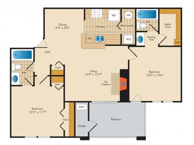B1- TWO BEDROOM TWO BATH- 966 SQ FT