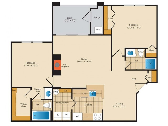B2- TWO BEDROOM TWO BATH- 1021 SQ FT