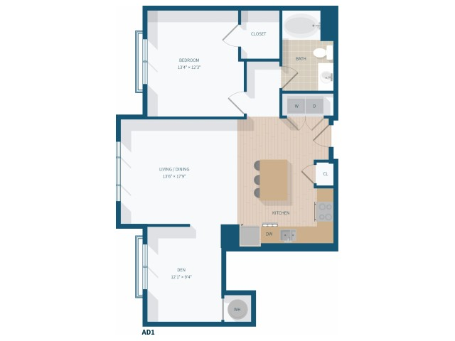 1 Bedroom -  A7 - 946 Square Feet