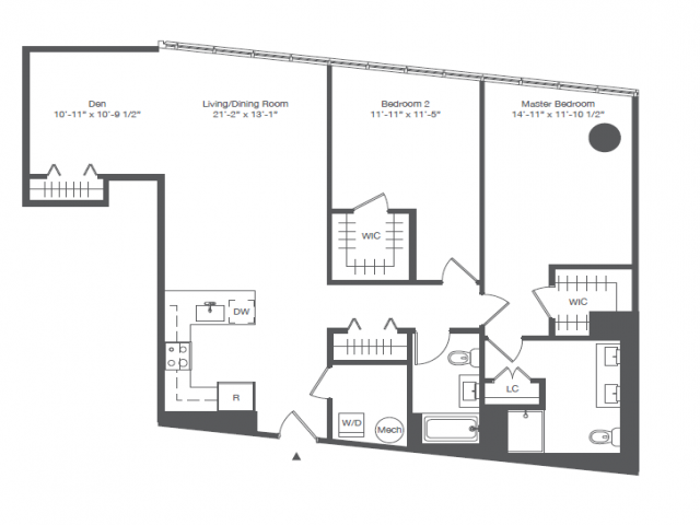 1B2- TWO BEDROOM WITH OFFICE TWO BATHS