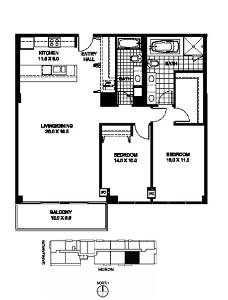 Two Bedroom Two Bathroom Floor Plan B12