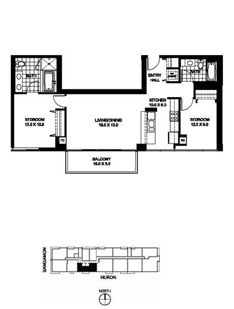 Two Bedroom Two Bathroom Floor Plan B7