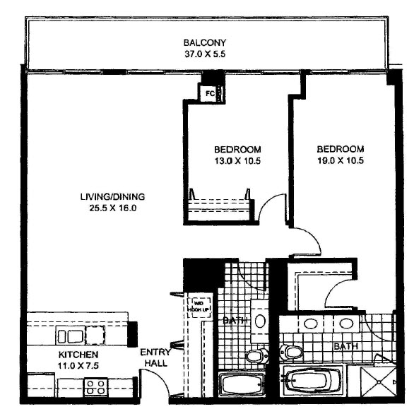 Two Bedroom Two Bathroom Floor Plan Penthouse 5