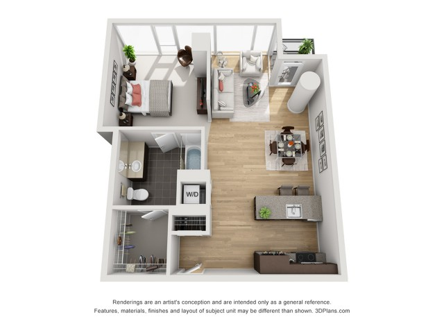 1 Bed 1 Bath Floor Plan 1h