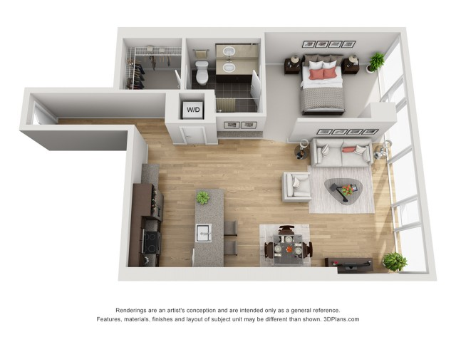 1 Bed 1 Bath Floor Plan 1n