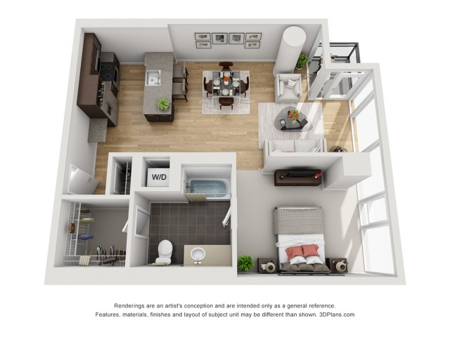 1 Bed 1 Bath Floor Plan 1p4