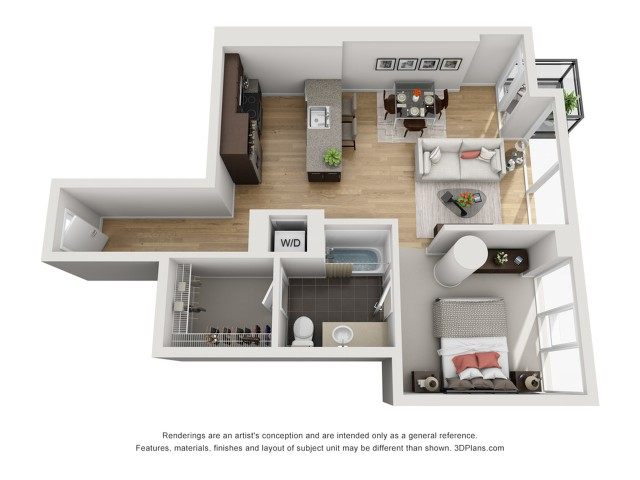 1 Bedroom 878sqft