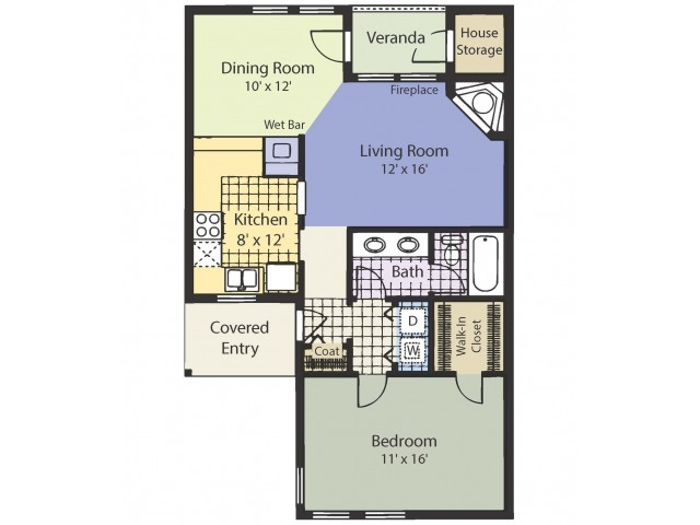 A1 826 Square Feet One Bedroom | One Bath