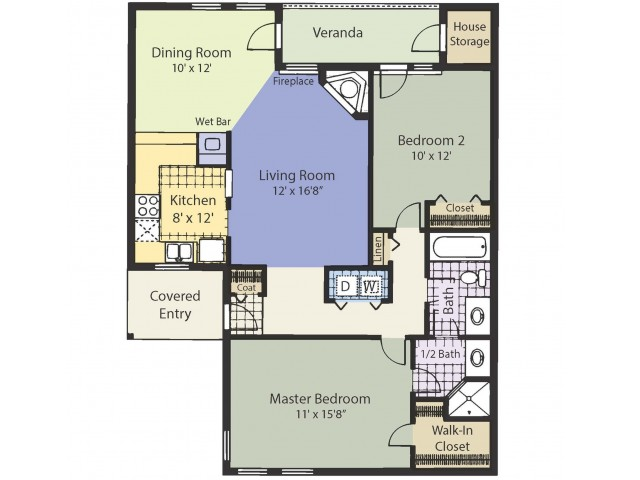 B1.5. 1056 Square Feet Two Bedroom | One and a half bath