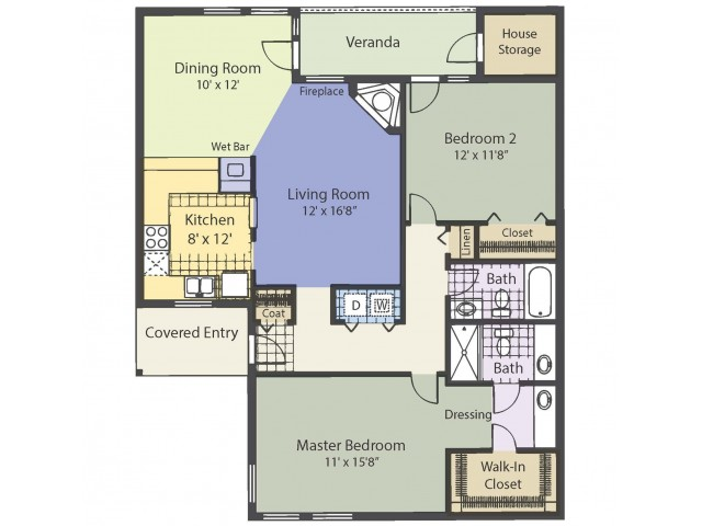 B2 1116 Square Feet Two Bedroom | Two Bath