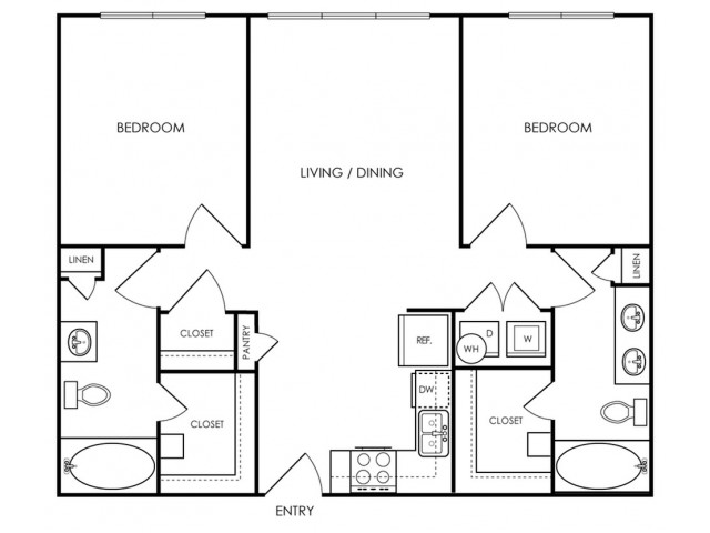 Two bedroom, two bath, kitchen, pantry, coat closet, living/dining room, two walk in closets, linen closet and laundry room. 1049 square feet B1-1 floor plan.