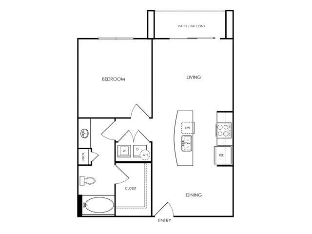 One bedroom, one bathroom, one walk in closet, laundry room, hvac room, pantry, living room, kitchen A1- 3 floor plan, 725 square feet.
