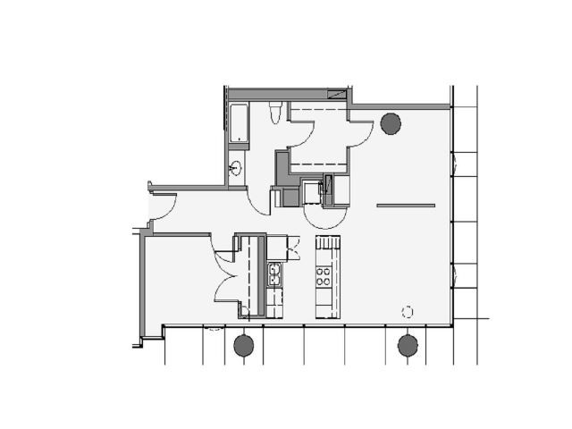 1 Bed 1 Bath + Den Floor Plan 1cd
