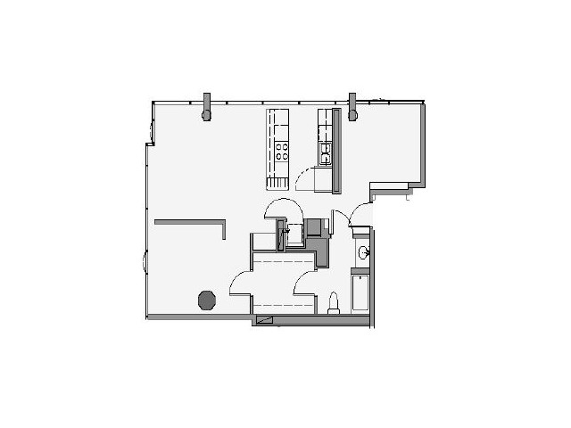 1 Bed 1 Bath + Den Floor Plan 1dd