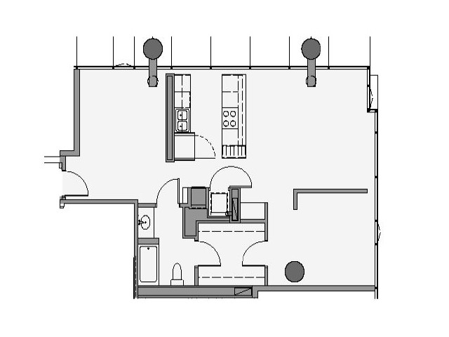 1 Bed 1 Bath + Den Floor Plan 1fd