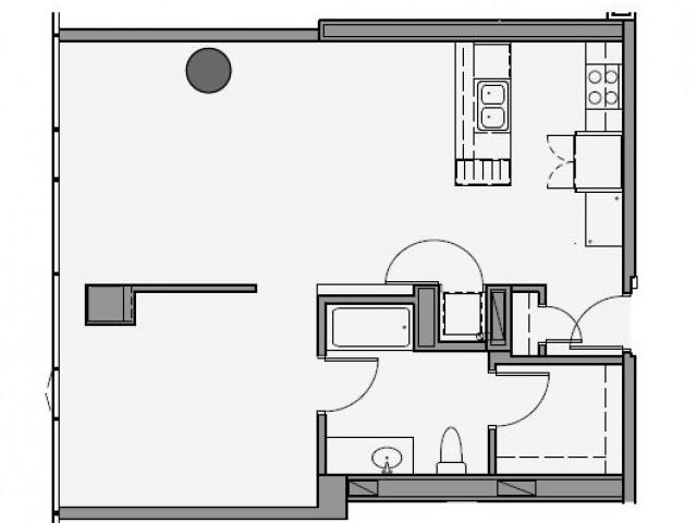 1 Bed 1 Bath Floor Plan 1m