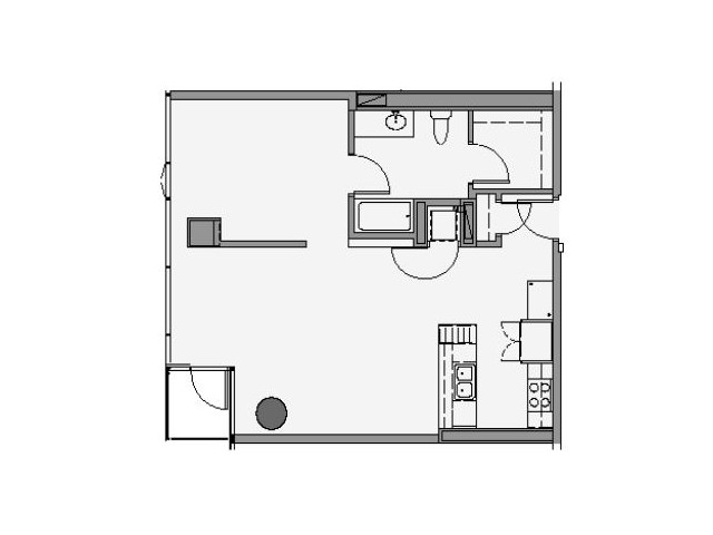 04 Tier 1 Bed 846 Sq Ft, Vaulted Ceiling
