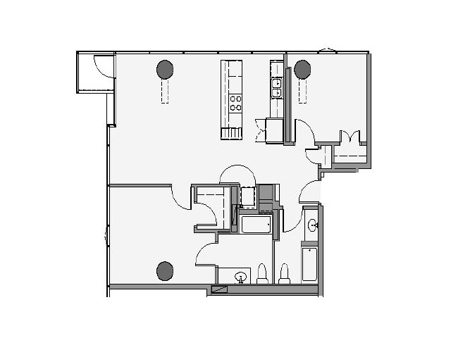 2 Bed 2 Bath Floor Plan 2c