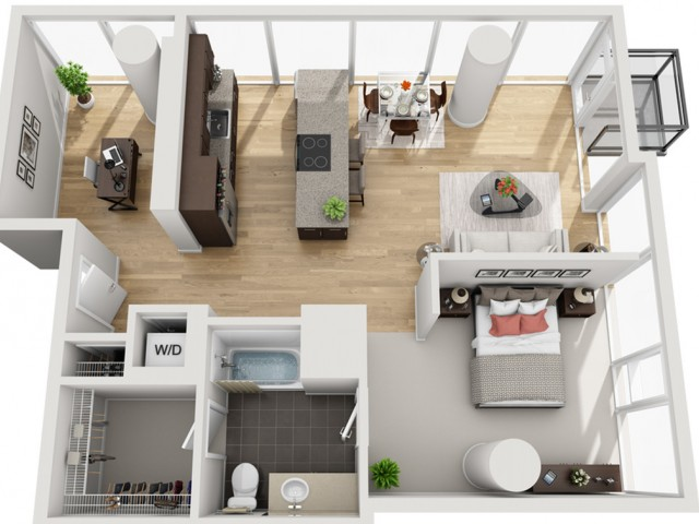 1 Bed 1 Bath + Den Floor Plan 1ed