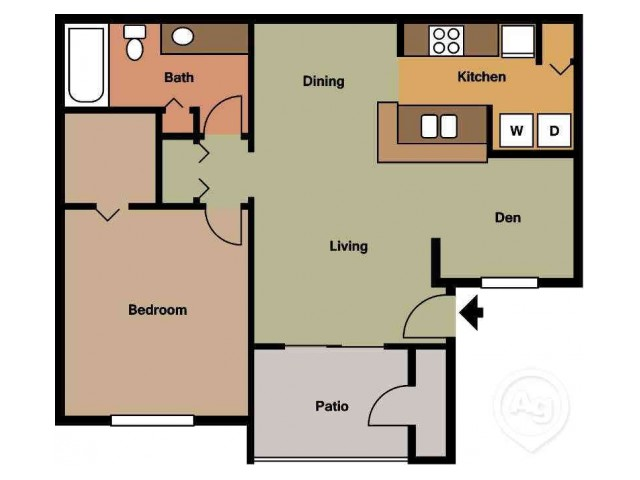 Grand Cayman one bedroom one bathroom floor plan