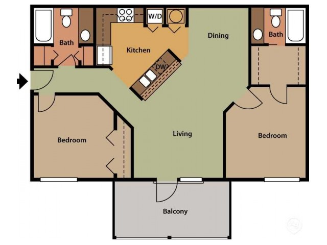 Two Bedroom - Two Bath Upgrade
