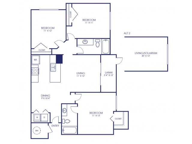 Egret 1087 Square Feet Three Bedroom | Two Bathroom