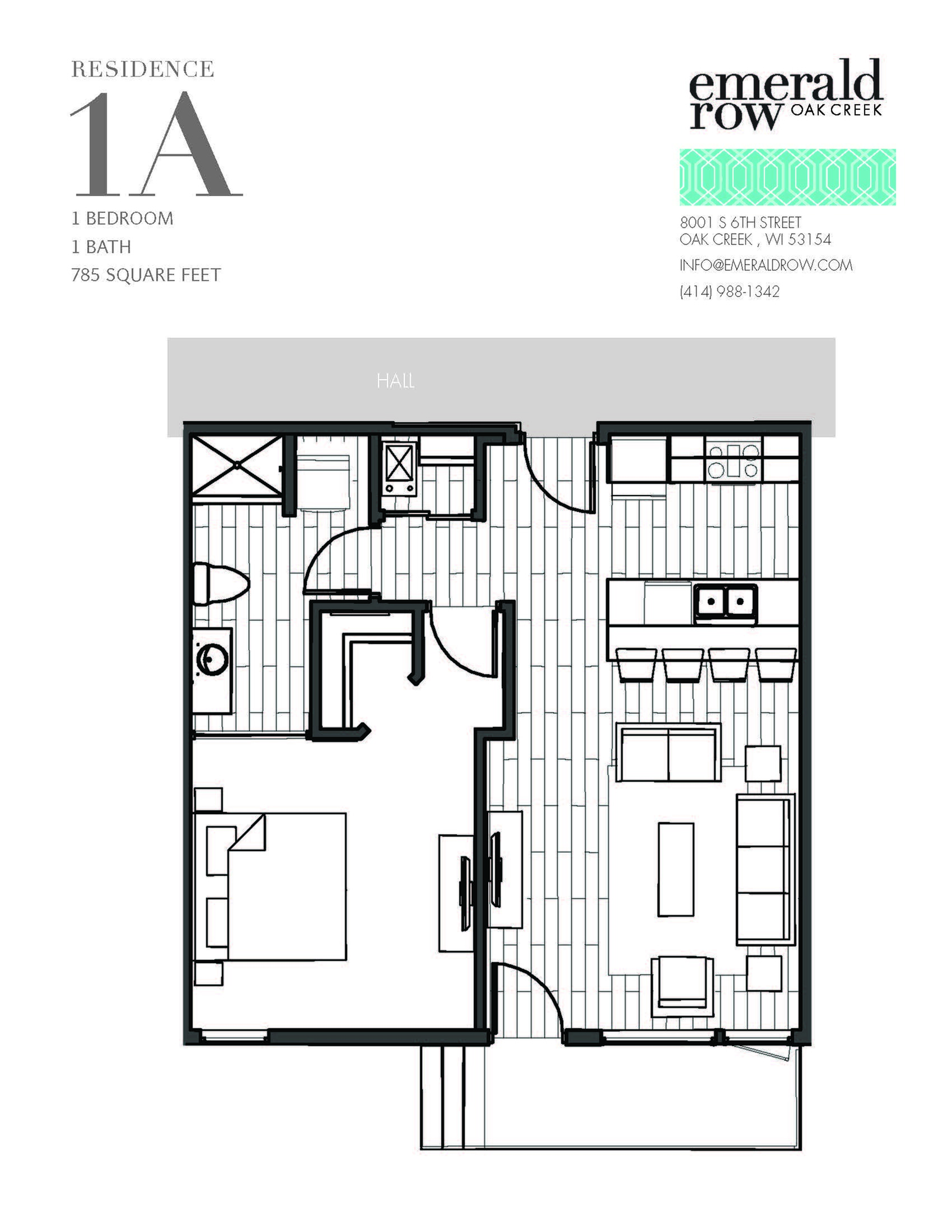 1 Bed 1 Bath Floor Plan 1A