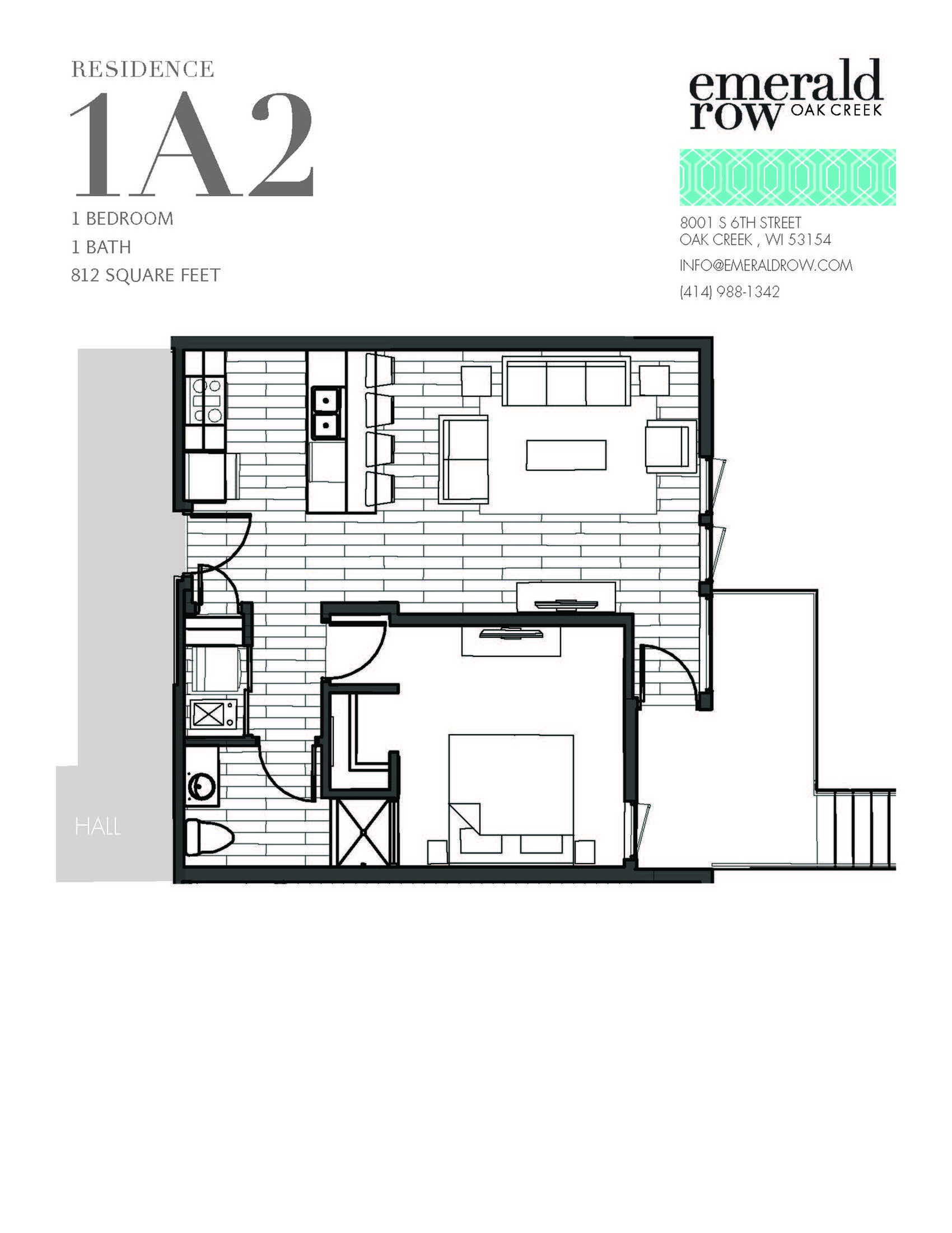 1 Bed 1 Bath Floor Plan 1A2