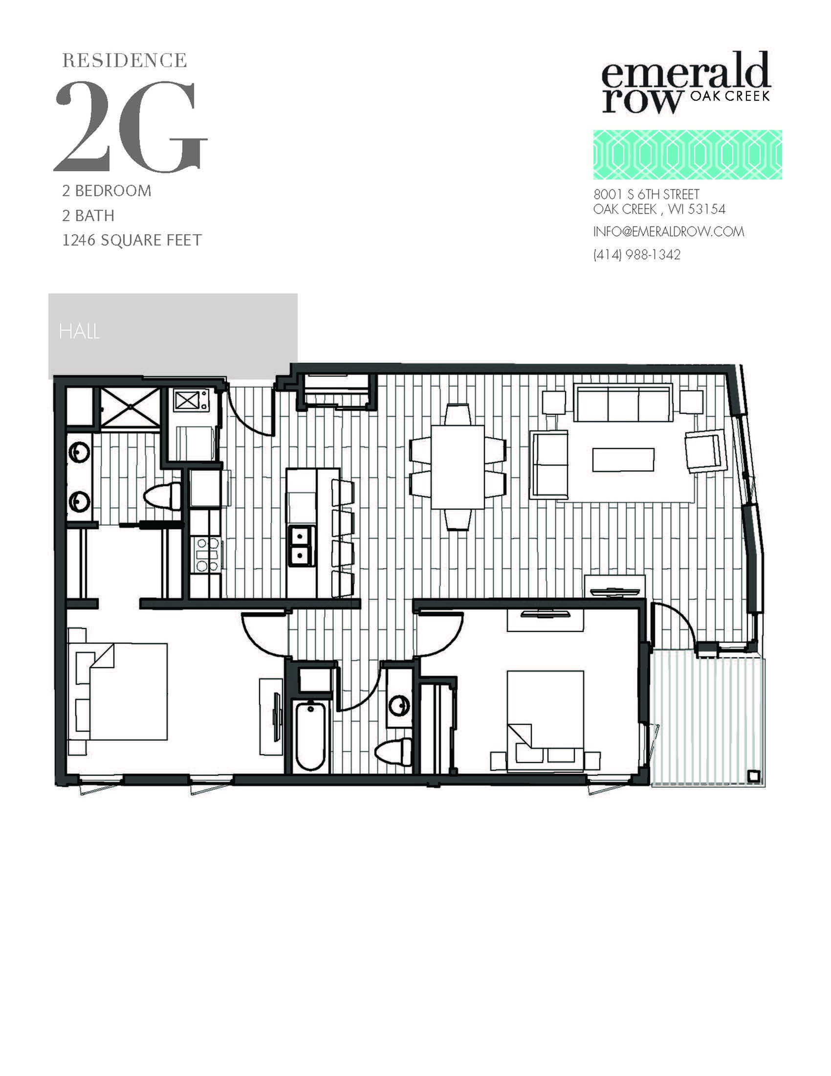 2 Bed 2 Bath Floor Plan 2G
