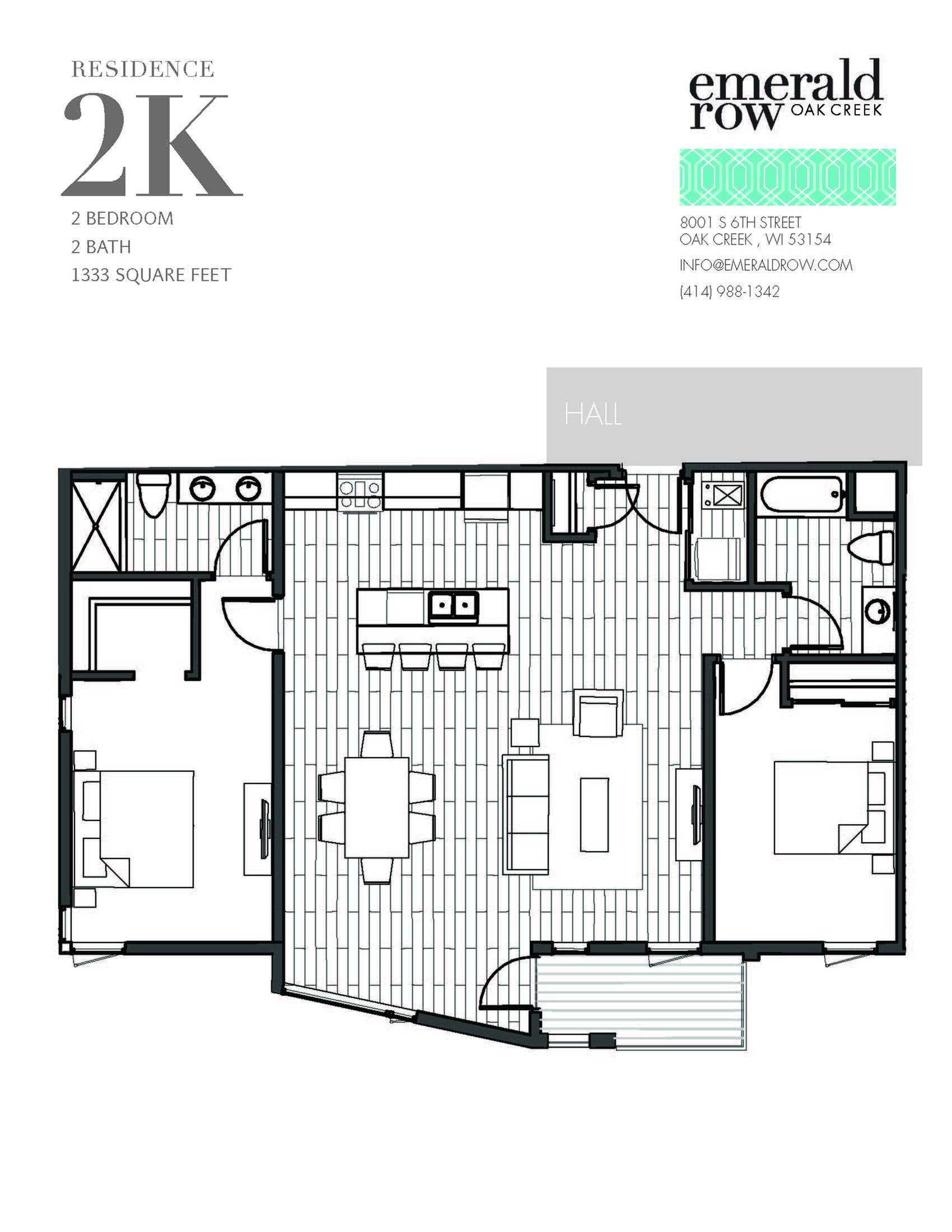 2 Bed 2 Bath Floor Plan 2K