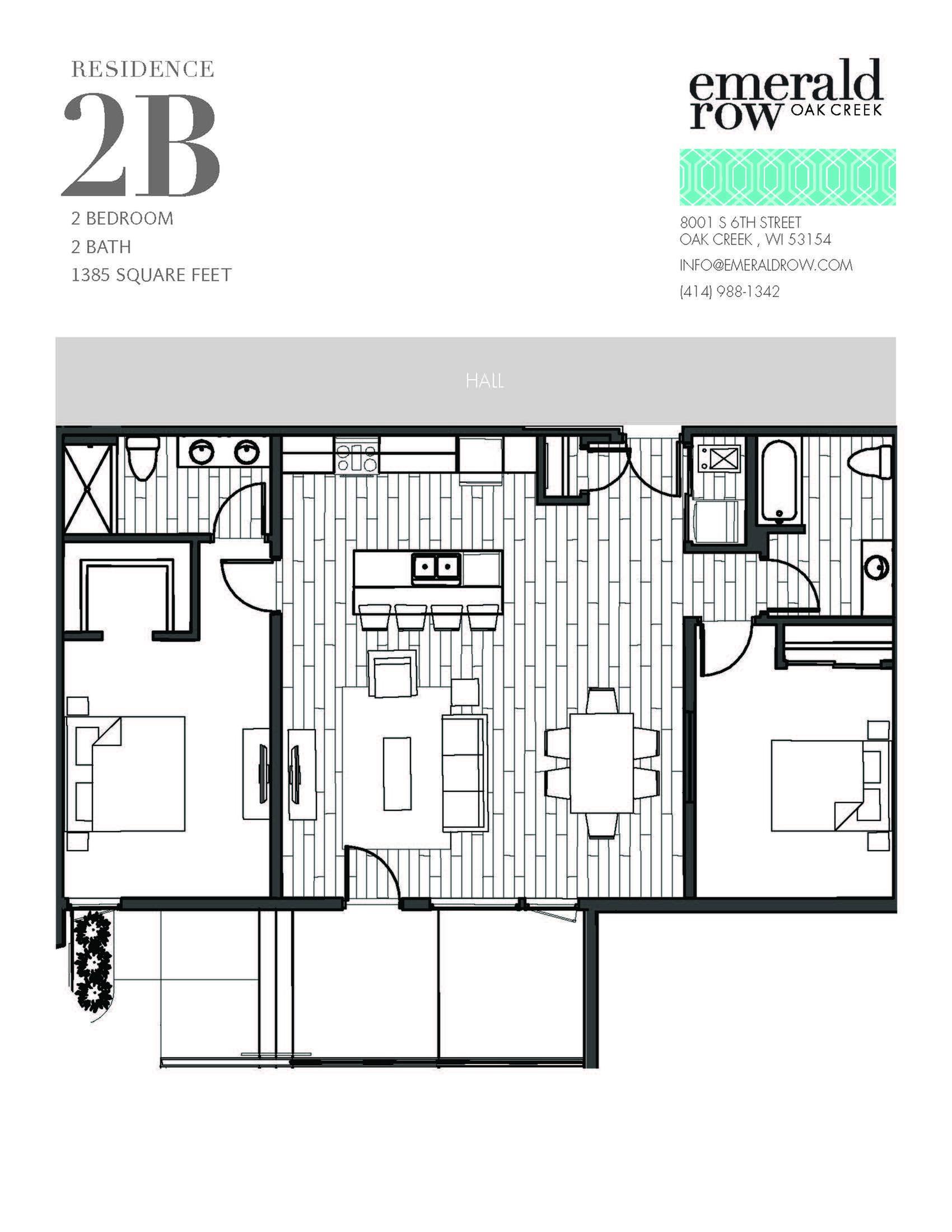 2 Bed 2 Bath Floor Plan 2B