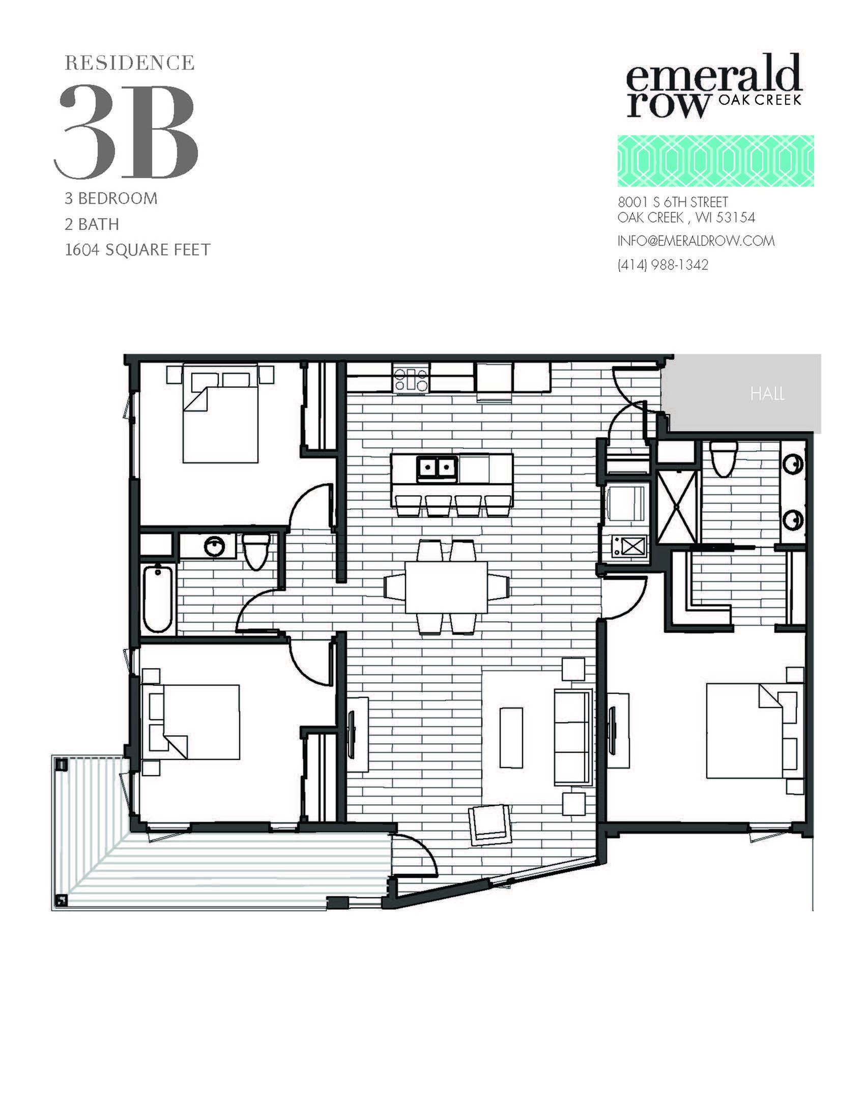 3 Bed 2 Bath Floor Plan 3B