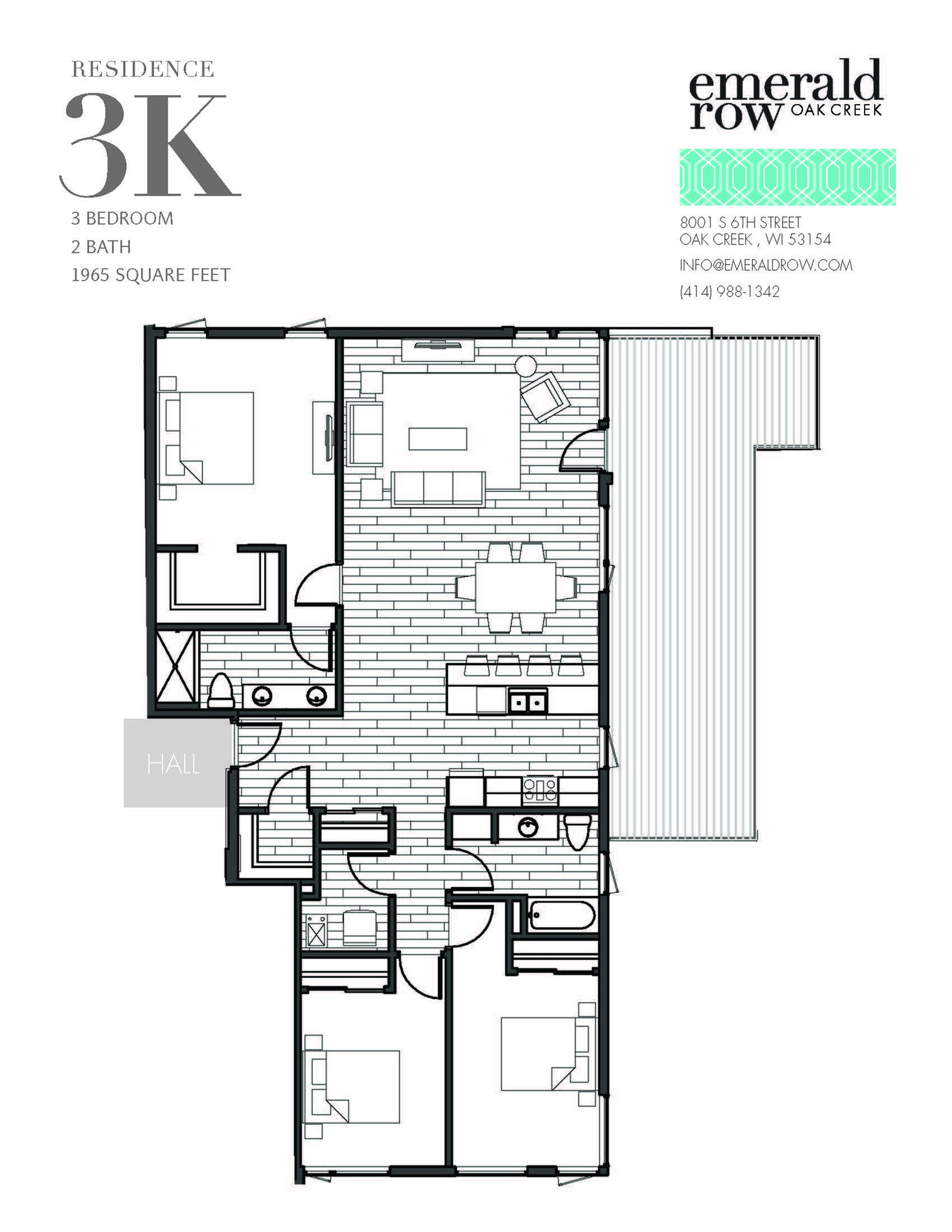 3 Bed 2 Bath Floor Plan 3K