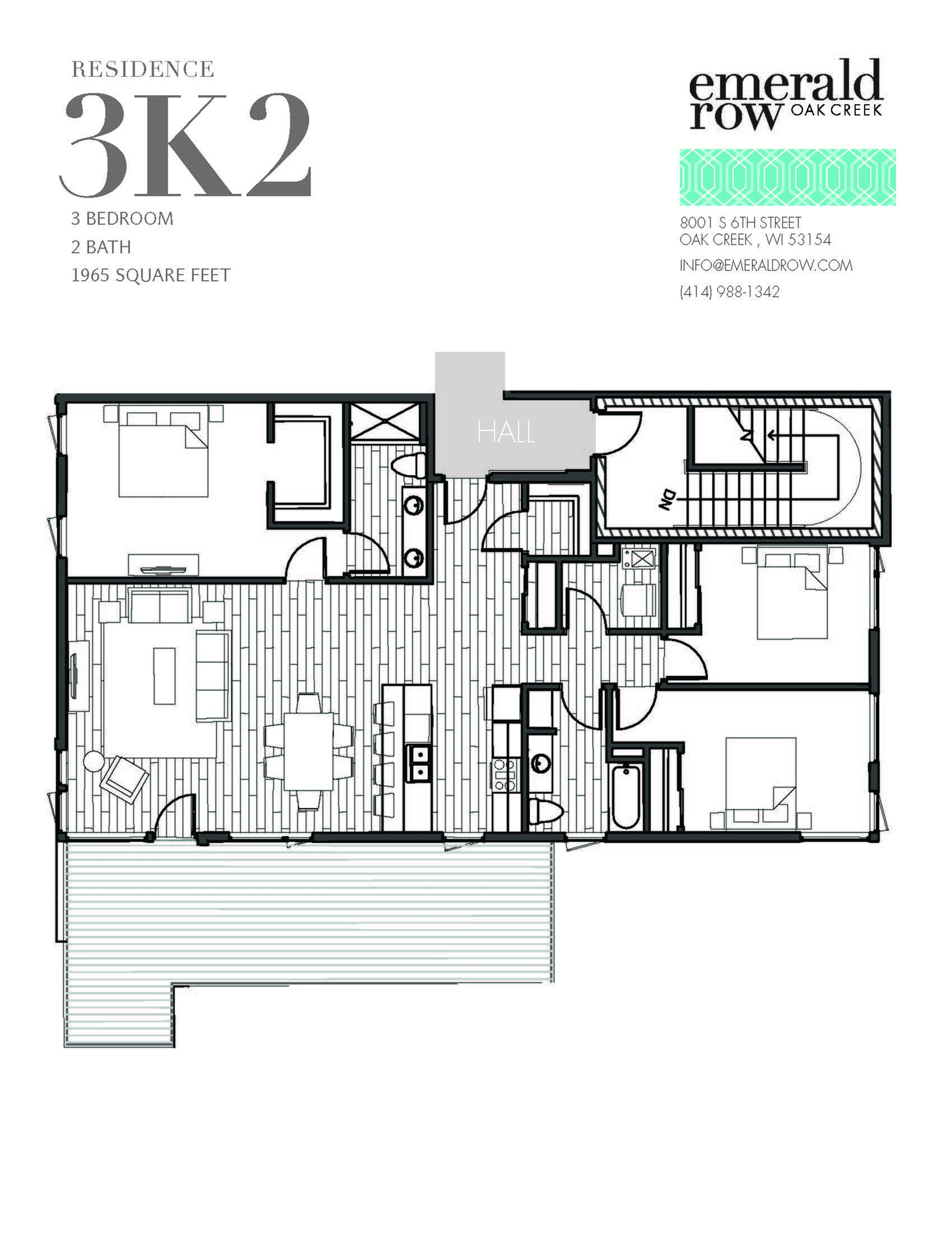 3 Bed 2 Bath Floor Plan 3K2