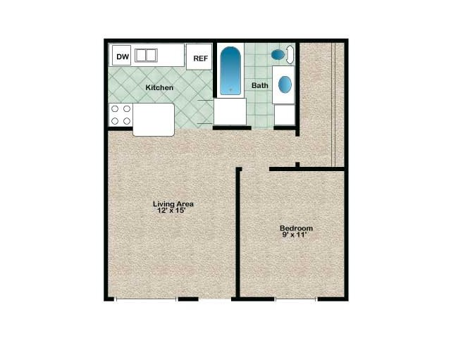 Apartment home with 1 bedroom, 1 bathroom