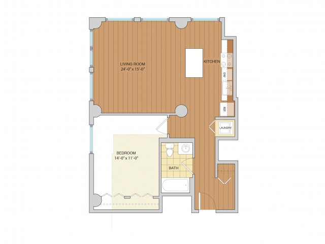 1 Bed 1 Bath Floor Plan A17