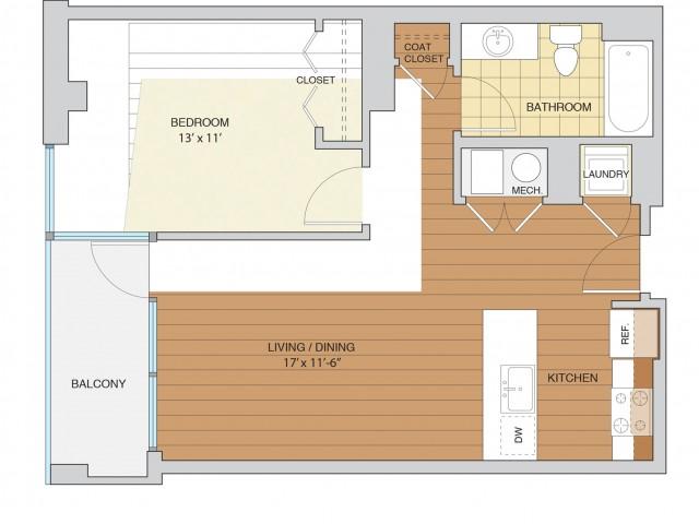1 Bed 1 Bath Floor Plan A5