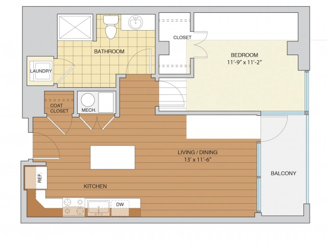 1 Bed 1 Bath Floor Plan A7