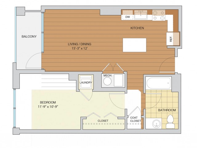 1 Bed 1 Bath Floor Plan A1