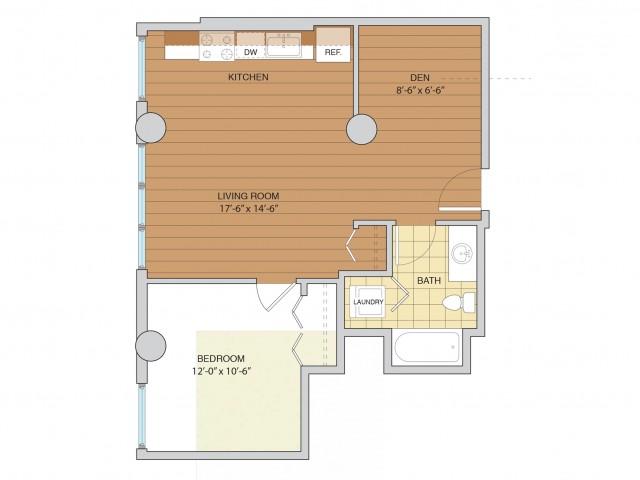 1 Bed 1 Bath Floor Plan A10