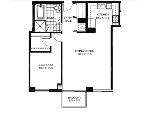 One Bedroom One Bathroom Floor Plan Penthouse 3