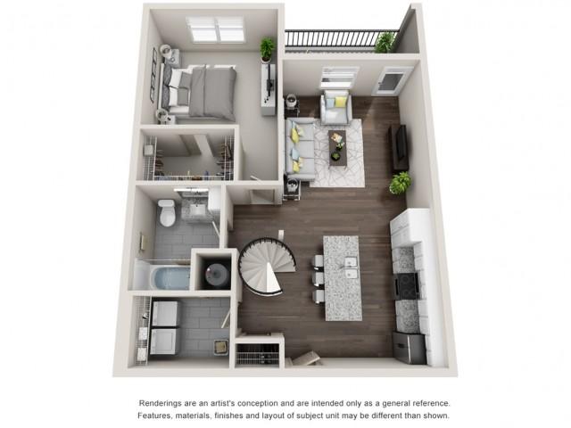 Ormond First Floor 957 Square Feet One Bedroom Loft | One Bathroom